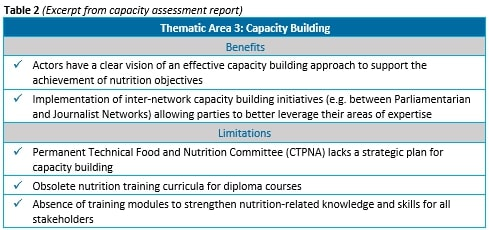 Table 2 (Excerpt from capacity assessment report)